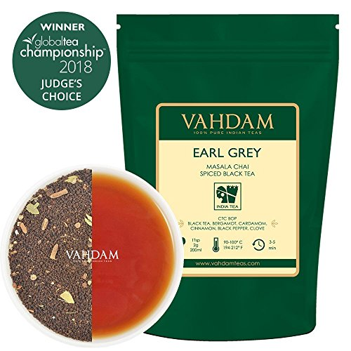 VAHDAM, Earl Grey Masala Chai Tea (50 Cups) | 100% NATURAL SPICES | Black Tea With Bergamot Oil | Spiced Chai Tea Loose Leaf | Earl Grey Tea | Brew Hot Tea, Iced Tea or Chai Latte | 3.53oz