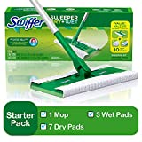Swiffer Sweeper Dry and Wet All Purpose Floor Mopping and Cleaning Starter Kit with Heavy Duty Cloths, Includes 1 Mop, 10 Refills