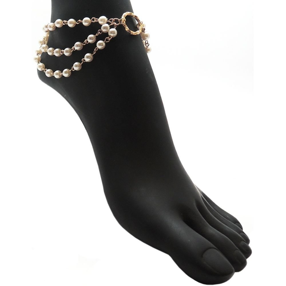 GirlPROPS(R) Nickel Free 3 Row Imitation Pearl Chain Anklet, Ours Alone, USA!, in Imitation Pearl with Gold Tone Finish