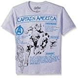 Marvel Big Boys Captain America Avengers Biography T-Shirt, Heather Grey, 14/16