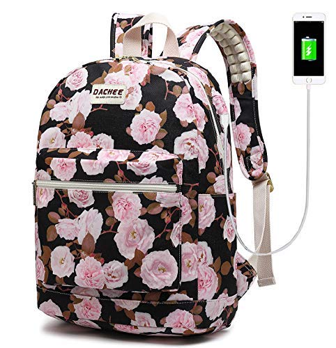 - Laptop Backpack with USB Charging Port Waterproof School Bookbag Travel Backpack for 15.6 Inch (Pink Roses)