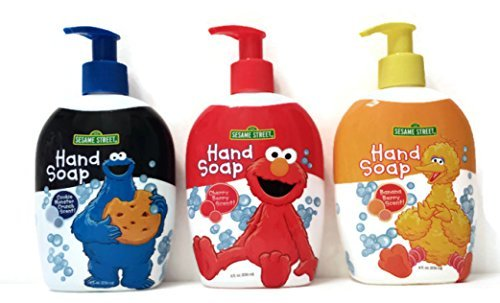 Sesame Street Bundle of 3 Different Hand Soaps - Cookie Monster Crunch Scent, Cherry Berry Scent, Banana Berry Scent (Each Is 8oz) (Cookie Soap)
