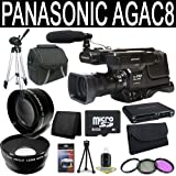 Panasonic AG-AC8PJ AVCCAM Handheld Camcorder + 64GB SDXC Class 10 Memory Card + 49mm Wide Angle Lens + 49mm 2x Telephoto Lens + 49mm 3 Piece Filter Kit + Carrying Case + Full Size Tripod + Multi Card USB Reader + Memory Card Wallet + Deluxe Starter Kit