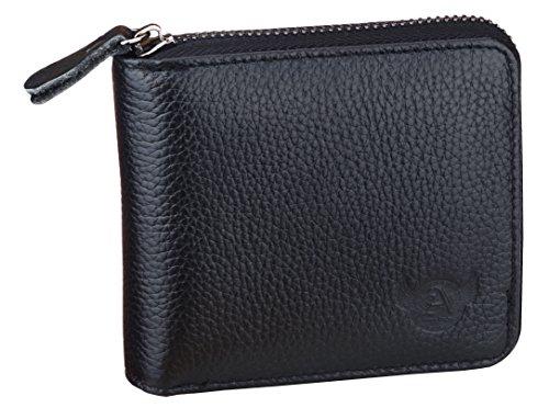 Leather Genuine Short (Admetus Men's Genuine Leather Short Zip-around Bifold Wallet Black)