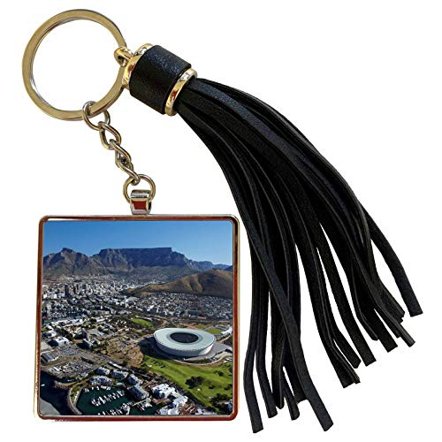 3dRose Danita Delimont - David Wall - South Africa - Aerial View of Cape Town Stadium and City, Cape Town, South Africa. - Tassel Key Chain (tkc_188019_1) (Aerial View Of Cape Town South Africa)