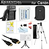 Essential Accessories Kit For Canon PowerShot SX260 HS, SX280 HS, SX280HS, S120, D30 Digital Camera Includes Replacement (1200maH) NB-6L Battery + Charger + Mini HDMI Cable + Case + 50 Tripod + More