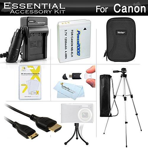 (Essential Accessories Kit for Canon PowerShot SX260 HS, SX280 HS, SX280HS, S120, D30 Digital Camera Includes Replacement (1200maH) NB-6L Battery + Charger + Mini HDMI Cable + Case + 50 Tripod + More)