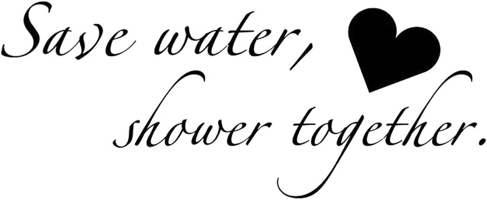 BooDecal Quote Series Wall Decals Save Water Shower Together Funny Catch- Phrase Vinyl Wall Quotes Art Stickers Cute Inspirational Home Bathroom Shower Glass Sayings Art Lettering 22 Inches x 9 Inches