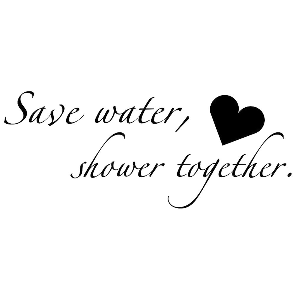Boodecal quote series wall decals save water shower together funny catch phrase vinyl wall quotes art stickers cute inspirational home bathroom shower