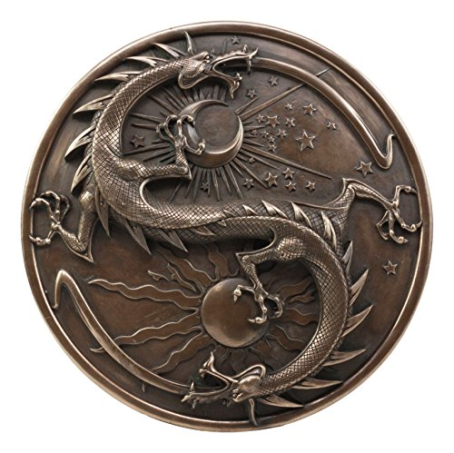 Double Dragon Alchemy in Robust Yin Yang Astrology Fusion Wall Plaque Sculpture Day And Night Dragon Round Medallion Wall - Medallion Dragon