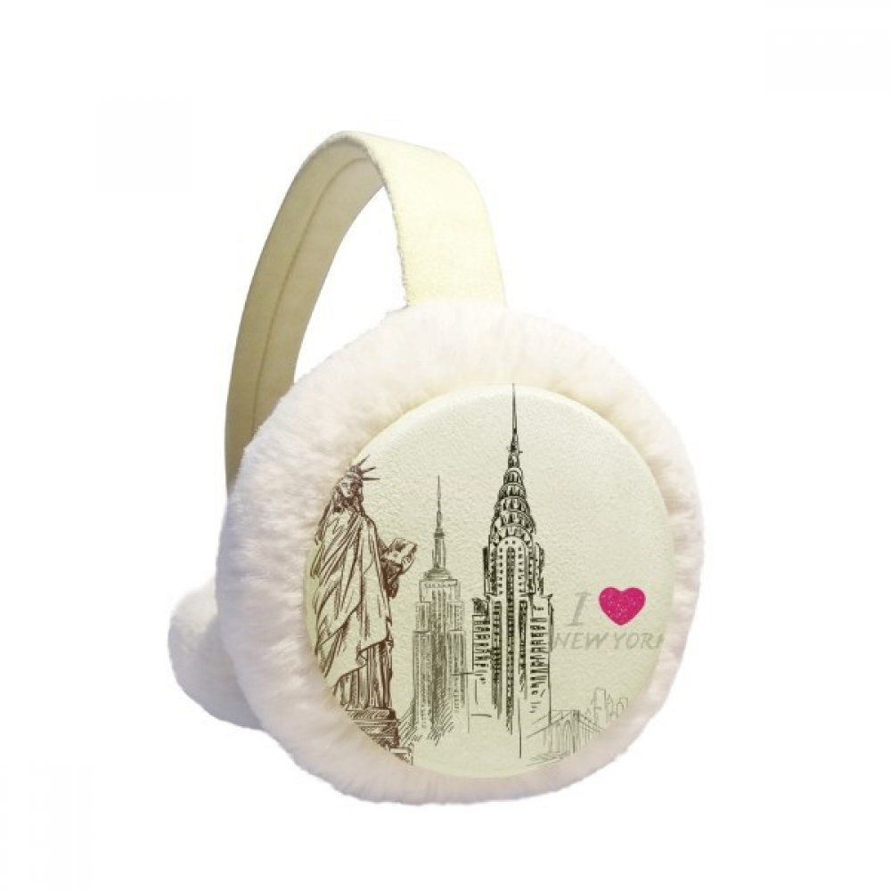 I Love New York America Country City Winter Earmuffs Ear Warmers Faux Fur Foldable Plush Outdoor Gift
