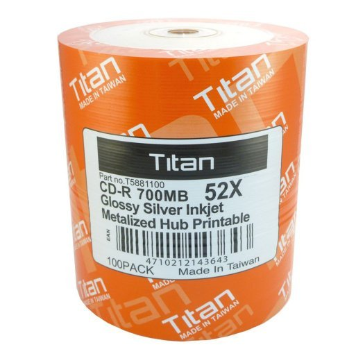 Titan CD-R 52X, Glossy Silver Inkjet Hub Printable, Metalized Hub printable (T5881100) in 100 Pack Shrink Wrap