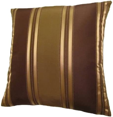 26×26 Bronze, Gold, and Brown Stripes Decorative Throw Pillow Cover