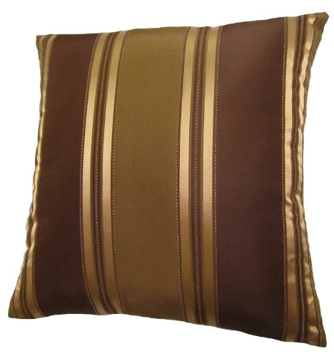 - 22x22 Bronze, Gold, and Brown Stripes Decorative Throw Pillow Cover