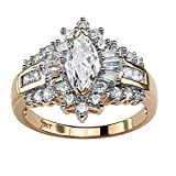 Marquise-Cut White Cubic Zirconia 10k Yellow Gold Halo Engagement Ring