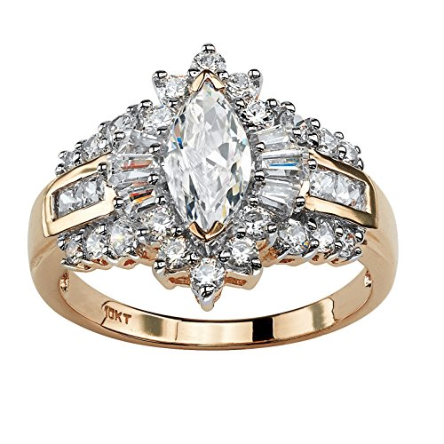 (Marquise-Cut White Cubic Zirconia 10k Yellow Gold Halo Engagement Ring)