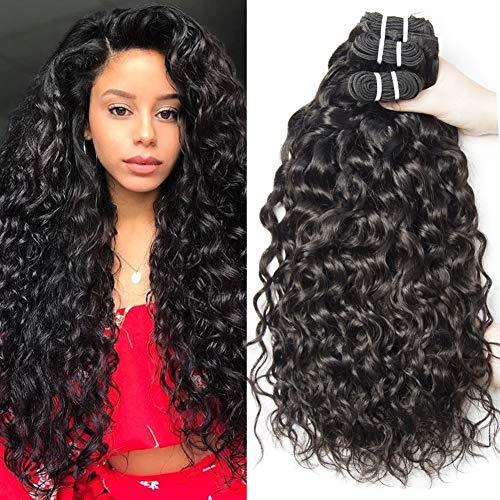 Yavida Brazilian Water Wave Bundles 8A Brazilian Curly Hair 3 Bundles Wet and Wavy Virgin Human Hair Weave Natural Color 10 12 14 Inch