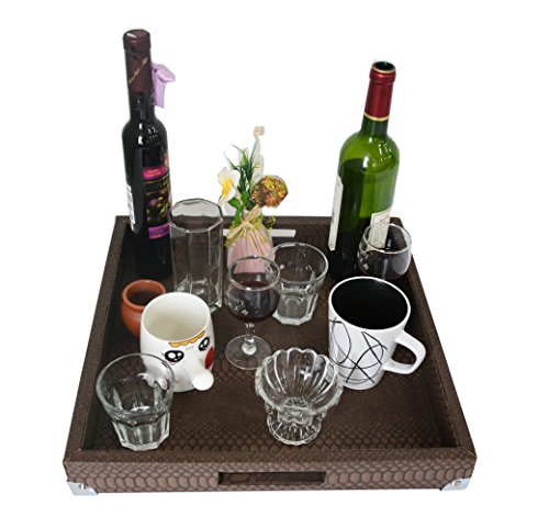Woosal Home Kitchen Decorative Tray Square Snake Leather