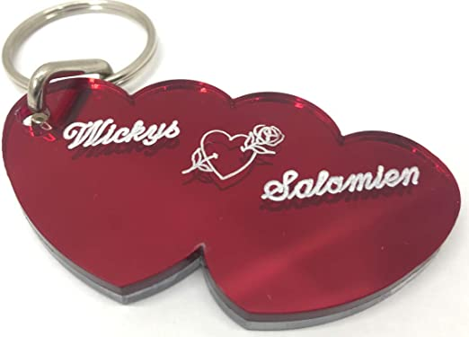 Wedding Gift First Home Double Heart Valentine/'s day Personalised Italian Leather Keyring  Heart Keychain FREE GIFT WRAPPING