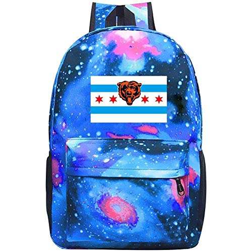Chicago Bears Flag Laptop Backpack Fashion Travel Daypack Galaxy Canvas Backpack