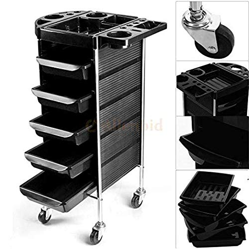 Salon Spa Beauty Makeup Cart Hairdressing Rolling Trolley Storage Cart Organizer Salon Equipment With 5 Drawers Hair Dryer Service Tray Tool Storage Cart Black
