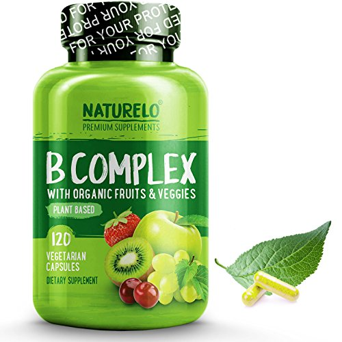 NATURELO B Complex - Whole Food - with Vitamin B6, Folate, B12, Biotin - Vegan - Vegetarian - Best Natural Supplement for Energy and Stress - High Potency - Non GMO - Gluten Free - 120 Capsules (Vitamin Formula B-complex)