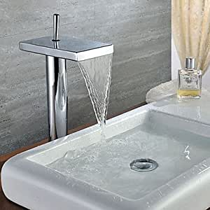 Contemporary Solid Brass Waterfall Single Handle Bathroom Sink Faucet Chrome Finish