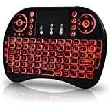 OEM Universal 2.4Ghz USB Wireless Keyboard Mouse for Linux Chrome Mac Windows 10 Computer or Android TV Box - Rechargeable Battery - Backlit, Red