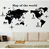 Witkey Map Of The Word Removable Vinyl Home Decal Living Room Decor Wall Sticker Art DIY Mural