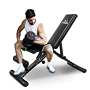 #LightningDeal 93% claimed: FLYBIRD Adjustable Bench,Utility Weight Bench for Full Body Workout- Multi-Purpose Foldable Incline/Decline Bench