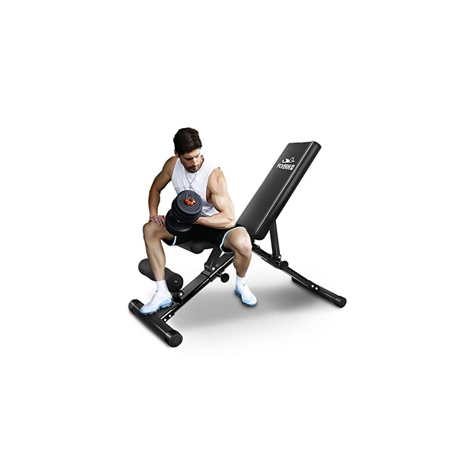 FLYBIRD Adjustable Bench,Utility Weight Bench for Full Body Workout Multi Purpose Foldable Incline/Decline Benchs