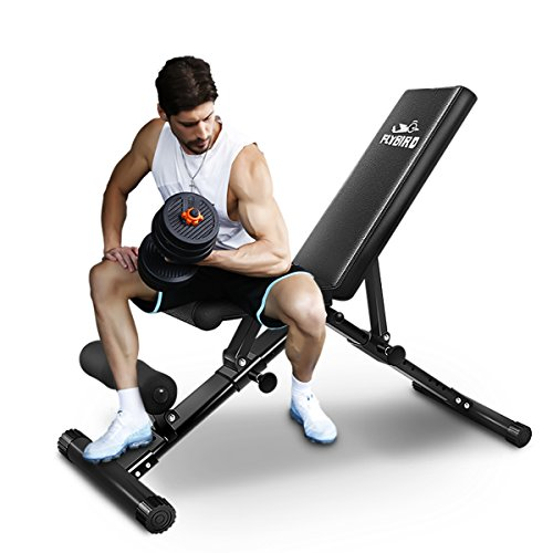 FLYBIRD Adjustable Bench,Utility Weight Bench for Full Body Workout- Multi-Purpose Foldable Incline/Decline Benchs (Best Rated Home Weight Bench)