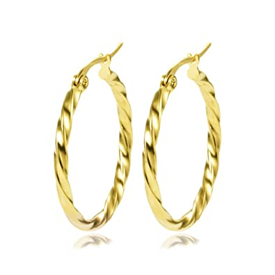 49fbba5a8 Yumay-9ct Gold Twisted Creole Hoop Earrings for Girls or Womens 28mm Hoop