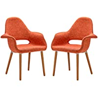 Poly and Bark Organic Arm Chair, Orange, Set of 2