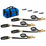 "Mac's Tie-Downs 511618 Black Pro Pack with 8' x 2"" Ratchet Straps, and 24"" Axle Straps and Fleece Sleeves"