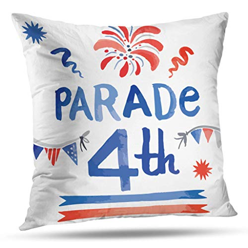 Geericy 0 Decorative Throw Pillow Covers, Watercolor Style of Decoration Set for Independence Day July Th Holiday Celebration Cushion Cover 18X18 Inch for Bedroom Sofa]()