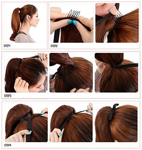 "CosdeWig® 22""(55cm) Straight Light Auburn Binding Tie up Ponytail Clip Hair Wrap"