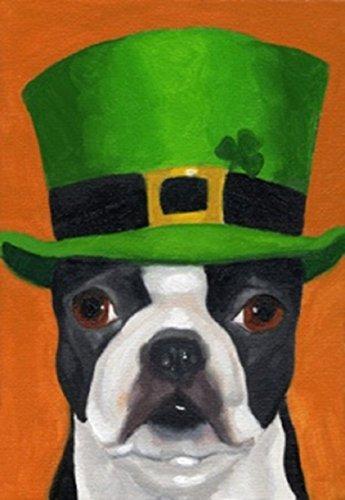 Irish Hat Dog St. Patrick's Day House Flag Shamrock Clover Irish Green 28″x40″