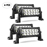 Nilight 10001S-D 4PCS 7.5 Inch 36W Spot Bar Offroad LED Lighting for Jeep Truck ATV UTV SUV, 2 Years Warranty