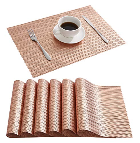 DOLOPL Place Mats Braid Placemats Non-Slip Hollow Out Table Mats Set of 6 for Dining Table Kitchen Restaurant Table in Rose Gold