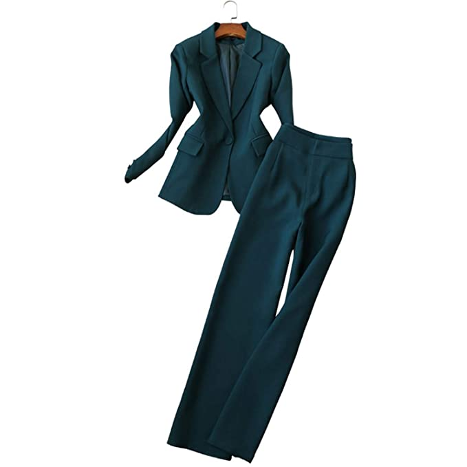 90dcc850325 Women Suit 2019 Fashion Slim Business Office OL Set Formal Blazer + Wide Leg  Pants Suit: Amazon.ca: Clothing & Accessories
