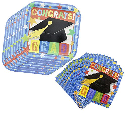 Graduation Party Plates & Napkins - Includes 32 Napkins & 16 Plates - Great for Snacks, Appetizers, Lunch, & Dessert Blue Snack Plate