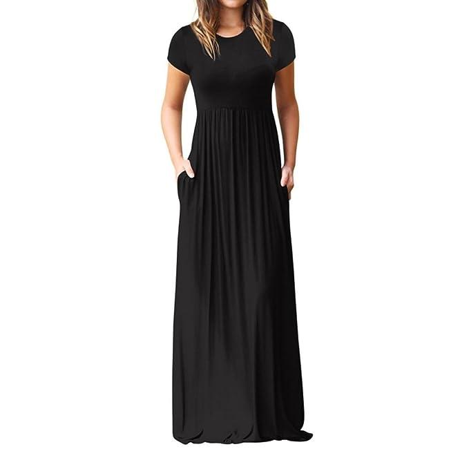 Bekleidung Longra❤ ❤ Longra Sommerkleid Damen Kurzarm Solid Maxikleider  Strandkleider Damen Bodenlanges Langes 3bf888f0ea