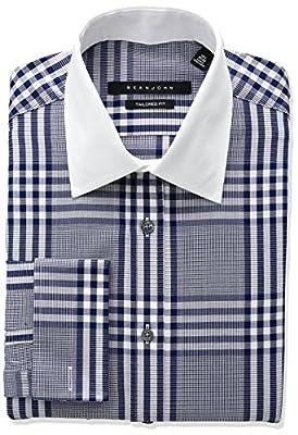 Sean John Men's Tailored Fit Plaid Spread Collar Dress Shirt