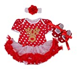 LiCheng Bridal Newborn Toddler Baby Girl First Christmas Birthday Outfit Short Sleeve 3 Set X-large