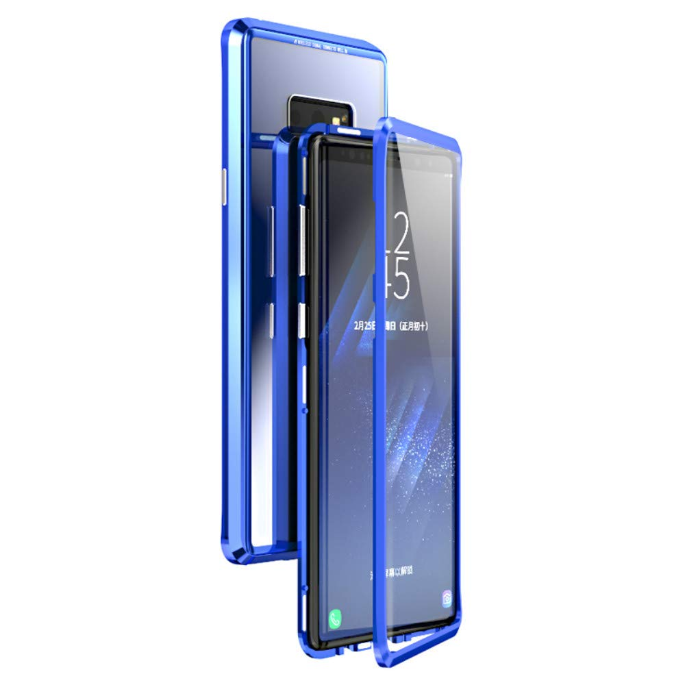 360° Full Body Case for Samsung Galaxy Note 9,[Front and Back of Clear Touchable Strong HD Tempered Glass] with Built-in Screen Protector Magnetic Adsorption Metal Protection Cover (Full Blue)