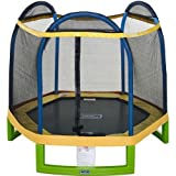 Jump Zone™ Indoor / Outdoor 7' Round Kids Trampoline with Safety Enclosure Net