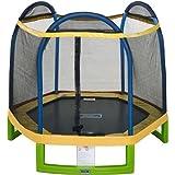 Jump ZoneTM Indoor / Outdoor 7' Round Kids Trampoline with Safety Enclosure Net