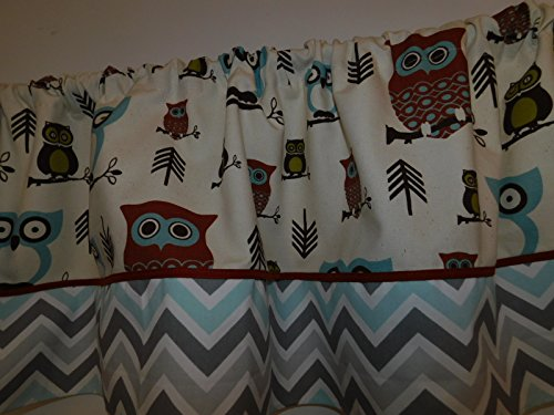 (Owls woodland animal and grey, mist, white chevron on the bottom curtain valance, Baby nursery window treatment, rust piping)