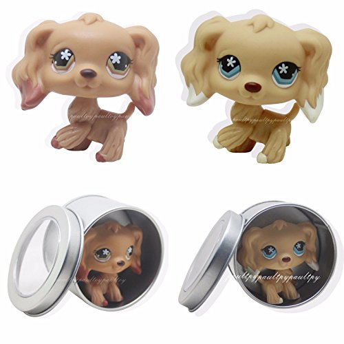 tongrou 2pcs Rare Littlest Pet Shop Cocker Spaniel Dog Flowe